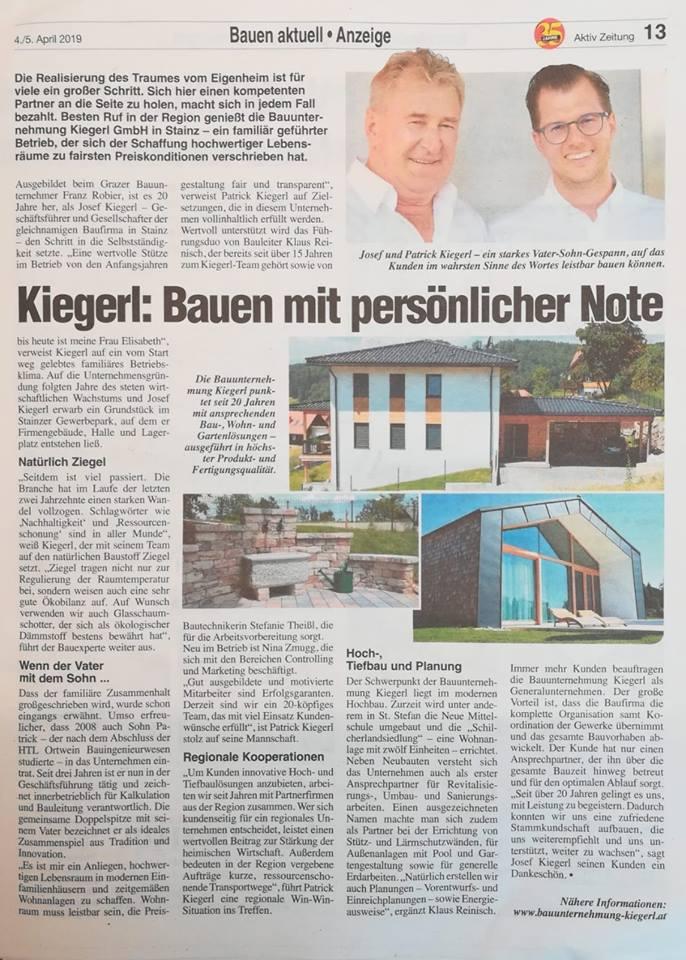 Aktiv Zeitung - Baufirma Kiegerl